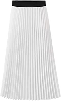 Howriis Women's Summer Chiffon Pleated A-Line Midi Skirt Dress