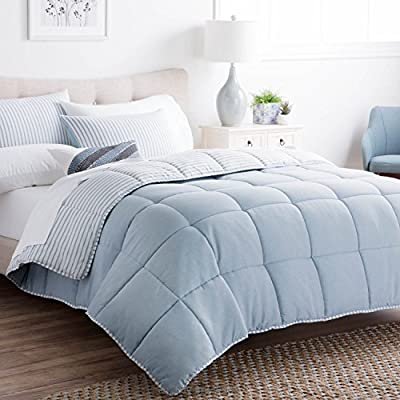 Brookside Striped Chambray Comforter Set - Includes 2 Pillow Shams - Reversible - Down Alternative - Hypoallergenic - All Season - Box Stitched Design - California King - Calm Sea Blue - Make bedtime your favorite time with our soft hypoallergenic comforter designed for all seasons Fashionable chambray look creates cozy, relaxing nautical theme; 2 matching pillow shams included Never deal with shifting fill again with our box-stitched construction; machine washable and dryer safe - comforter-sets, bedroom-sheets-comforters, bedroom - 51gS7fJcblL. SS400  -