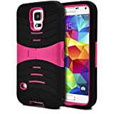 Galaxy S5 Case / S5 Neo Case, MagicMobile Hybrid Impact Rugged Shockproof Case for Galaxy S5 / S5 Neo Hard Armor Kickstand Shell Soft Silicone Skin [Black - Pink] Free Screen Protector and Stylus