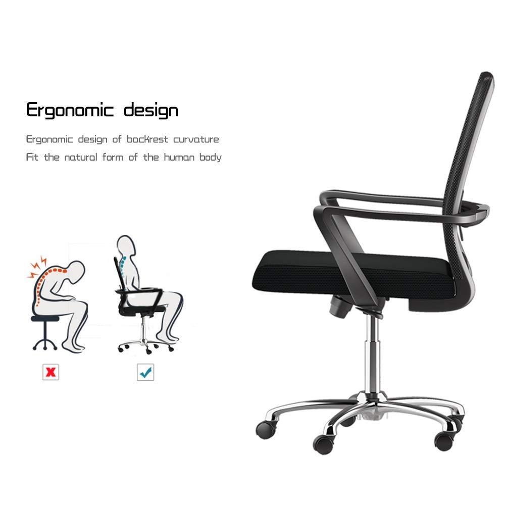 JIEER-C stol kontorsstol excutive spelstol med ländrygg stöd högrygg nät kontorsstol justerbar höjd ergonomisk dator skrivbordsstol för kontor mötesrum, blå Orange