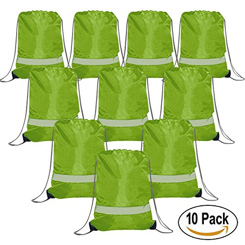 Drawstring Backpack Bags Reflective 10 Pack, Promotional Sport Gym Sack Cinch Bag (Green) (Guys Being Girls For Halloween)