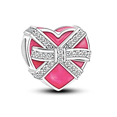 Glamulet 925 Sterling Silver Love Gift Box Heart Shape Charms with Cubic Zirconia Charms for Bracelet, Best Gift for Mom, Women and Girls from Glamulet