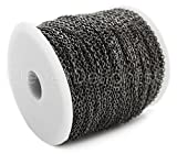 CleverDelights Cable Chain Spool - 330 Feet - Gunmetal (Dark Silver) Color - 2x3mm Link - Rolo Chain Bulk