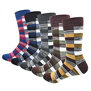Morecoo Mens Cotton Dress Socks Ribbed Colorful Patterned Stripe Funky Socks for Men