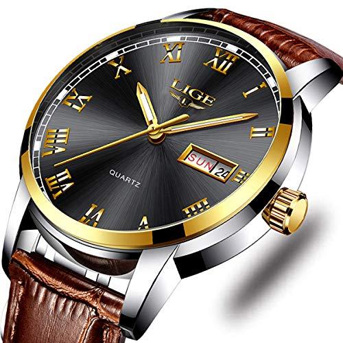 Men's Sport Casual Quartz Watch Men LIGE Roman Numeral Fashion Analog Luminous Wristwatch Business Calendar Date,Waterproof 30m Leather Watches Brown (Waterproof Leather Watch Mens)