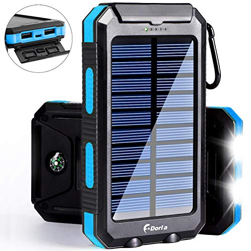 Solar Charger, 20000mAh Solar Power Bank Portable Chargers for Cell Phone External Battery Charger with Dual 2 USB Port/LED Light Backup Battery Pack for Backpacking Camping Solar Charging