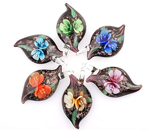 Handmade Glass Pendant Flower Pendant 6Pcs Handmade Murano Lampwork Glass Mix Color Fit Necklace Fashion Jewelry Gifts ()