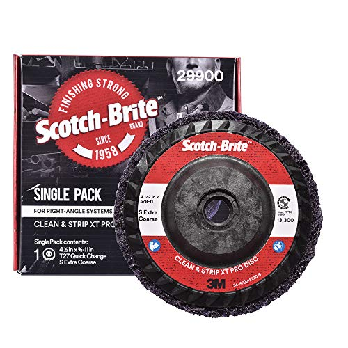 """Scotch-Brite Clean and Strip XT Pro Disc – Rust and Paint Stripping Disc – 4.5"""" diam. x 5/8-11 Quick Change Thread – Extra Coarse Silicon Carbide – Pack of 1, 0.5"""