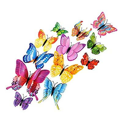 MINI-FACTORY 12PCs 3D Vivid Butterfly Wall Decoration DIY Art Craft Decor Stickers Kid's Room for Girls - Pink (Multi-Colored): Baby