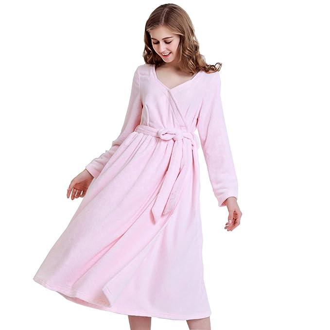 Las mujeresS batas largo terry paño albornoz algodón ligero ropa de dormir niñas