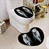 Analisahome 2 Piece Bathroom Mat Set Twin white tigers are walking isolated on black background Absorbent Cover