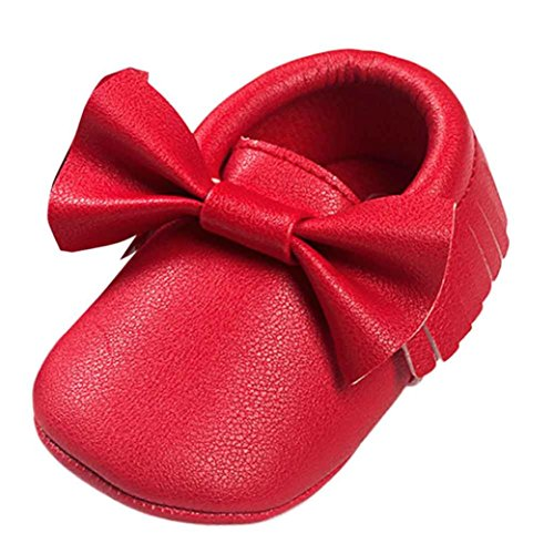 Voberry Baby Boys Girls Soft Soled Tassel Bowknots Crib Shoes PU Moccasins (12~18M, Red)