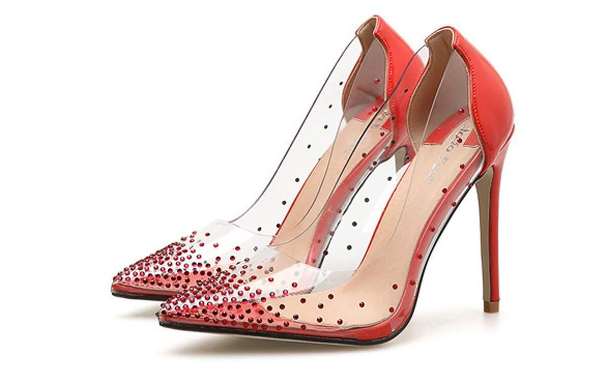 HBDLH Damenschuhe/Einzelne Schuhe Transparent Flach Mund Wasser Läuft Gut Bei Fuß Modisch 11Cm High Heel