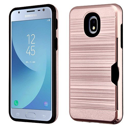- Rose Gold/Black Brushed Hybrid Protector Cover(with Card Wallet) for SAMSUNG J337 (Galaxy J3 (2018)) SAMSUNG Galaxy J3 Achieve SAMSUNG Galaxy J3 Star SAMSUNG Galaxy J3 V/J3 3rd Gen SAMSUNG Galaxy Expr