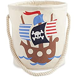 Mud Pie Canvas Beach Tote Toy Bucket, Pirate Ship