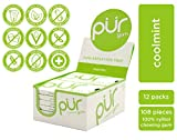 PUR 100% Xylitol Chewing Gum, Coolmint, 9 Pieces