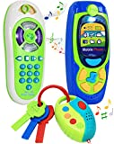 Click N' Play 3 Piece Pretend Play Cell Phone, TV Remote & Car Key Accessory Playset for Kids with Lights, Music & Sounds