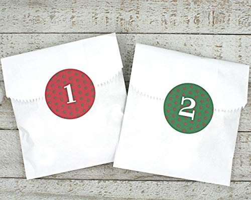 Advent calendar, Christmas countdown stickers and favor bags