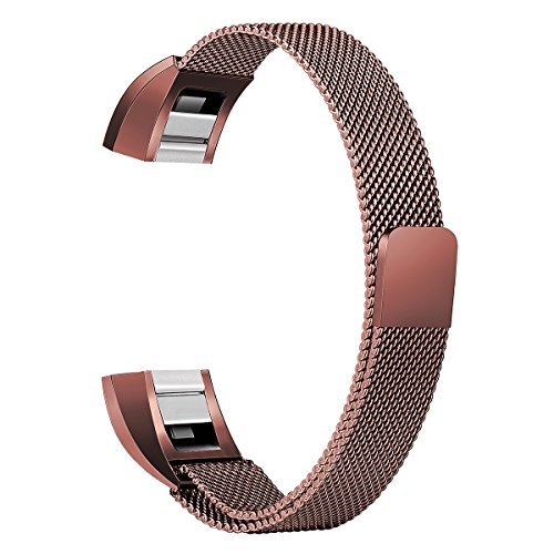 Gold Band Coffee (For Fitbit Alta HR and Alta Bands, bayite Replacement Milanese Loop Stainless Steel Metal Bands Small Coffee Brown)