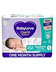 BabyLove Cosifit Nappies, Size 1 (0-5kg) One Month Supply (3 packs of 84, 252 nappies total)