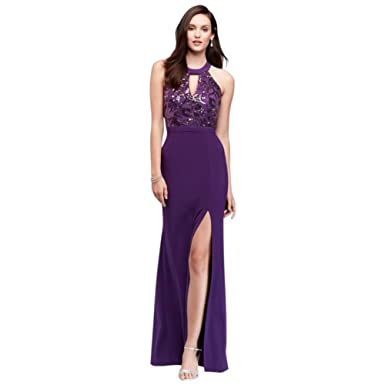 ed11bbdcc2 Sequined Jersey Open Back Halter Gown Style 12437 at Amazon Women s ...
