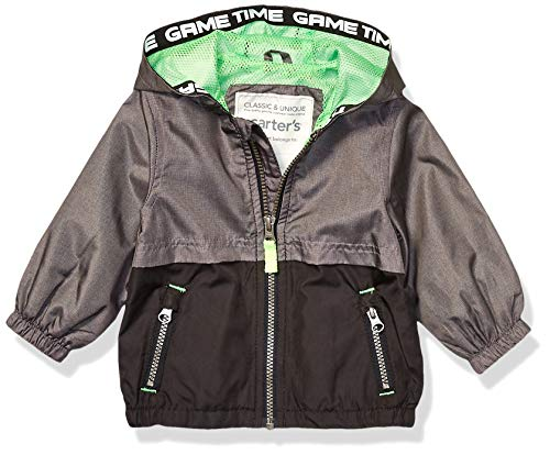 Carter's Baby Boys Mesh Lined Windbreaker Jacket, Light Gray Texture to Black, 24 Months (Rain Coats For Baby Boy)