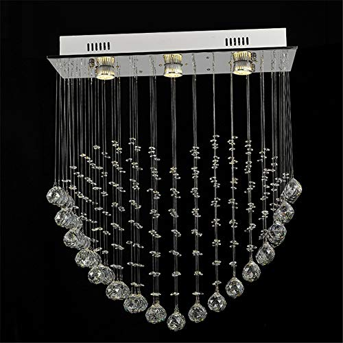 Modern Crystal Raindrop Chandelier Lighting Flush Mount LED Ceiling Light Fixture Pendant Lamp for Dining Room Bathroom Bedroom Livingroom 3 GU10 Bulbs Required