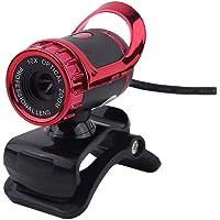 ASHATA Webcam de Computadora,HD Cámara USB Internet Portátil,Cámara Web USB con Micrófono para PC de Escritorio y Laptop,Lente óptica,Lzquierda y Derecha 360°,Arriba y Abajo 30° Giratorios(Rojo)