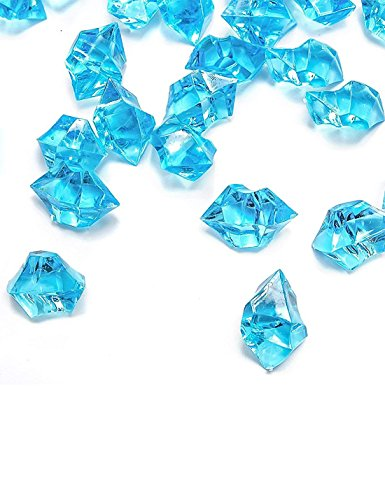 DomeStar Blue Fake Crushed Ice Rocks, 500 PCS Fake Diamonds Plastic Ice Cubes Acrylic Clear Ice Rock Diamond Crystals Fake Ice Cubes Gems for Home Decoration Wedding Display Vase Fillers