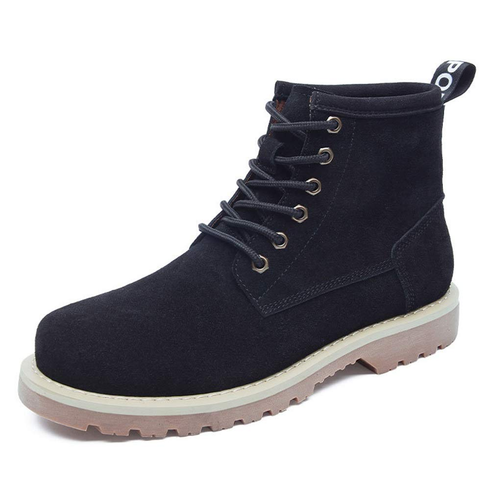Qiusa Stiefeletten für Männer Durable Non Slip Soft Sohle aus echtem Leder Comfort Stiefel (Farbe   Schwarz, Größe   EU 42)