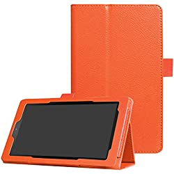 CCMAO All-New Fire 7 Tablet Case,Ultra Slim Premium PU Leather Folio Smart CoverFor All-New Fire 7 (7th Generation, 2017 Release) (orange)