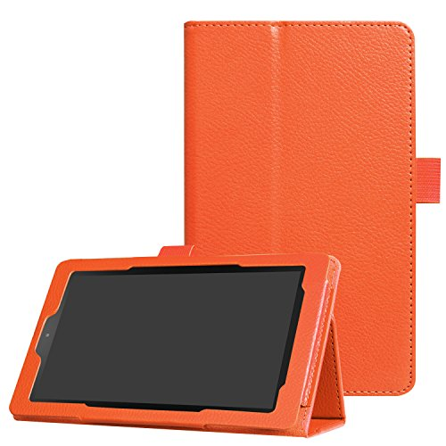 Asng All-New Fire 7 2017 / Fire 7 2015 Case - Premium PU Leather Folio Stand Cover Case for All-New Fire 7 Tablet with Alexa (7th Gen, 2017 Release) / Fire 7 (5th Gen, 2015 Release) (Orange) (7 Tablet Cases Orange)