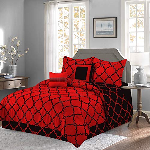 (Empire Home Annissa Collection Luxurious 10-Piece Geometric Soft Comforter Set & Bed Sheets Limited-Time Sale!! (Red Geo, Queen Size))