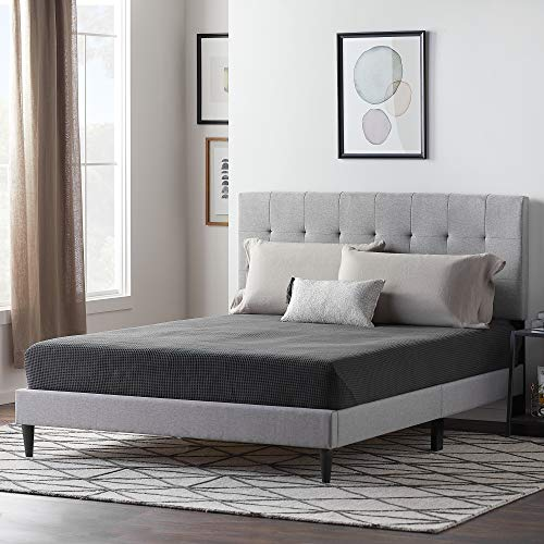 LUCID Upholstered Bed withSquare TuftedHeadboard-Linen Inspired Fabric -Sturdy Wood Build -No Box Spring Required Platform