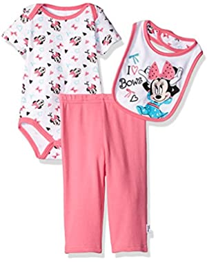 Baby Girls' Minnie Mouse 3-Piece Bodysuit, Pant, and Bib Set