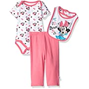 Disney Baby Girls' Minnie Mouse 3-Piece Bodysuit, Pant, and Bib Set, White, 3/6