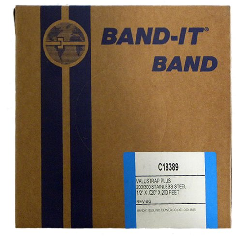 BAND-IT VALU-STRAP Plus Band C18389, 200/300 Stainless Steel, 1/2'' wide x 0.020'' thick (200 Foot Roll) by Band-It