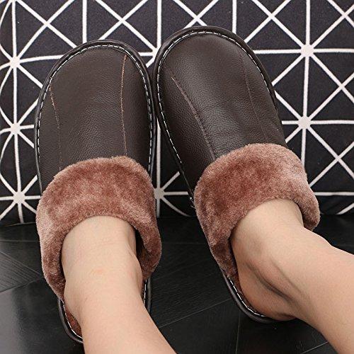 LaxBa Femmes Hommes Chaussures Slipper antiglisse intérieur 39/40 Brun foncé