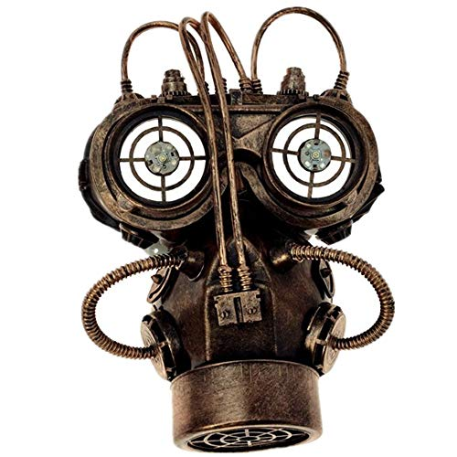 Storm Buy] Steampunk Respirator Metallic Spiked Mask Halloween Costume Cosplay with Goggles (Copper with Flip up Goggle)