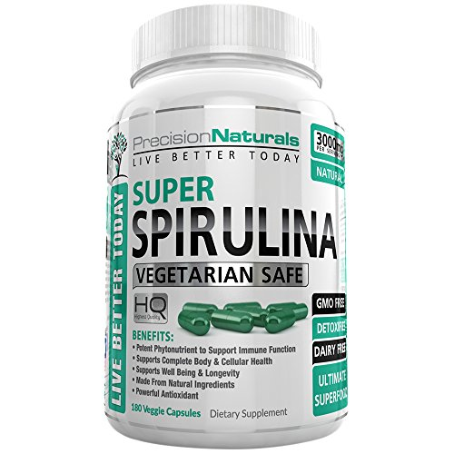 Chlorella 180 Tablets (Spirulina 180 Veggie Capsules/Pills - 3000mg/Serving - 500mg/tablet Best Complete Green Algae Protein Grown In California (Earthrise) Not Hawaiian Pacifica)