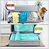 Space Saver Storage Bags for Clothes by TOPJUM No Vacuum or Air Pump Needed Travel Compress Vacuum Roll-Up Reusable Storage Bags Perfect Packing Organizers (8pcs)