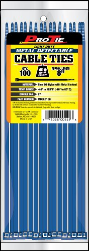 Pro Tie MD8LD100 8-Inch Metal Detectable Light Duty Cable Ties, Blue, -