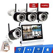 Wireless Security Camera System ARSECUT 4CH HD Video Surveillance System 12 Inch DVR Monitor 4x 1.0MP IP Network Camera Outdoor Indoor Use Remote View by iOS or Android App No Hard Drive