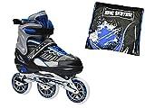 Epic Shield Black & Blue Indoor / Outdoor 90mm 3-Wheel Tri-Skate Inline Speed Skates w/ Matching Drawstring Bag! (Adult 5-8)