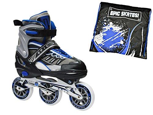 Epic Shield Black & Blue Indoor / Outdoor 90mm 3-Wheel Tri-Skate Inline Speed Skates w/ Matching Drawstring Bag! (Adult 5-8) by Epic Skates