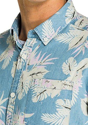 Yd. Yd. Men's Rawsen S/s Shirt Regular Fit Short Sleeve Cotton Formal Business Dress Casual Size 3xs-2xl Floral Blue Manches De Chemise Rawsen De / S Des Hommes Ordinaires En Forme Courte Coton Formel Robe D'affaires Décontractée Taille 3xs-2xl Floral Bleu