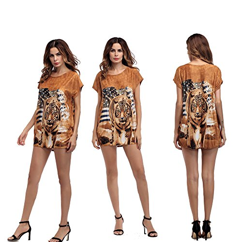hion Round Neck Short Sleeve Tiger Print T Shirt Blouse Tops (Tiger Print Top)