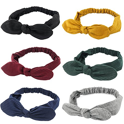 Carede Stretchy Bunny ears Headbands Crochet Cotton Hair Accessories Women Head Wraps Turban Bow Knotted Hairband,Pack of - Headband Stretchy Headband
