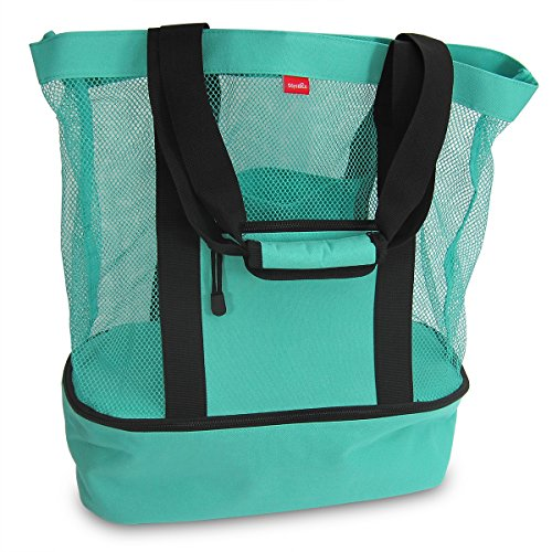 Large Zipper Tote (Aruba Mesh Beach Tote Bag with Insulated Picnic Cooler)