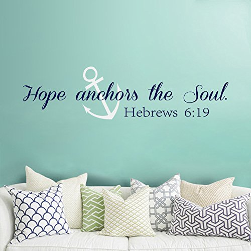 Scripture Wall Decal Bible Verse Wall Art - Hope Anchors The Soul Wall Decal - Hebrews 6:19 Anchors Vinyl Wall Decor (Navy blue + White,xs)